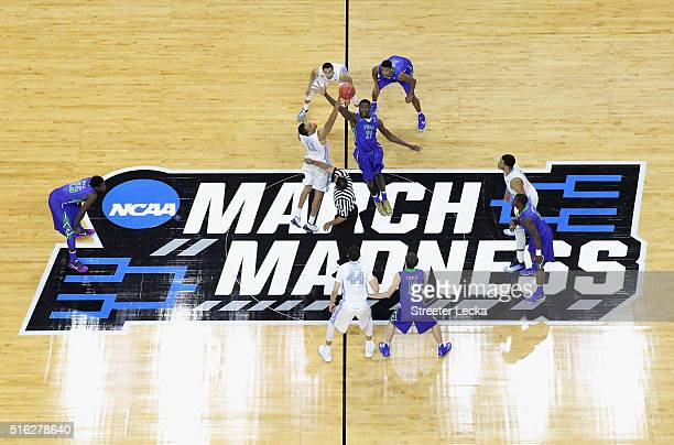 A general view of the the tipoff between the Florida Gulf Coast Eagles and the North Carolina Tar Heels during the first round of the NCAA Men's...