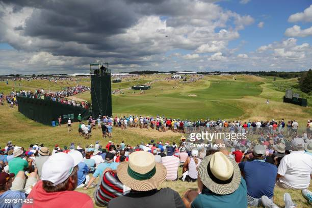 A general view of the third green during the final round of the 2017 US Open at Erin Hills on June 18 2017 in Hartford Wisconsin