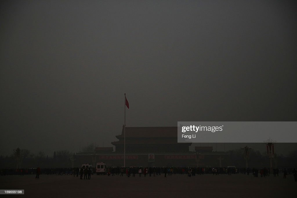 A general view of the Tiananmen Square at dangerous levels of air pollution on January 13, 2013 in Beijing, China.