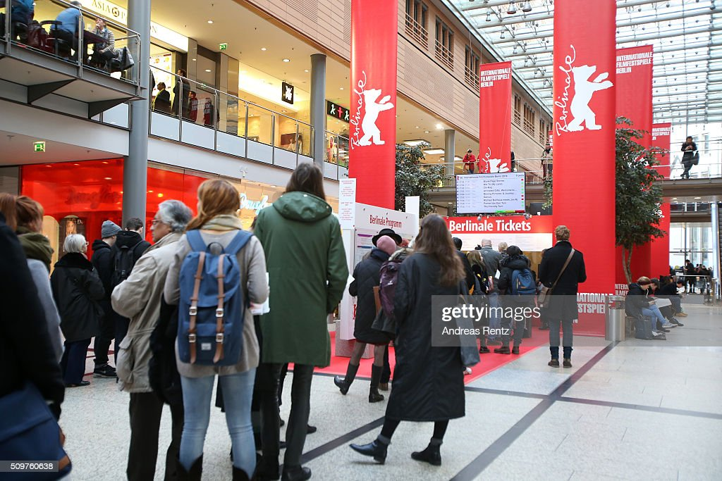 A general view of the ticket and merchandise counter during the 66th Berlinale International Film Festival on February 12, 2016 in Berlin, Germany.