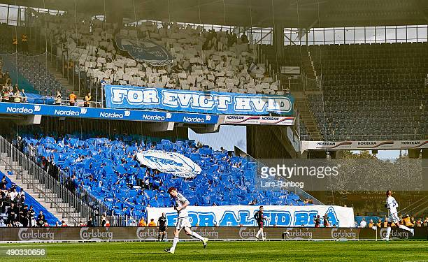 General view of the tifo from the fans of FC Copenhagen during the Danish Alka Superliga match between Brondby IF and FC Copenhagen at Brondby...