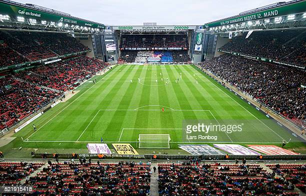General view of the tifo from the FC Copenhagen fans during the Danish Alka Superliga match between FC Copenhagen and Brondby IF at Telia Parken...