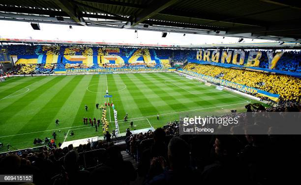 General view of the tifo when the two teams walking on to the pitch prior to the Danish Alka Superliga match between Brondby IF and FC Copenhagen at...