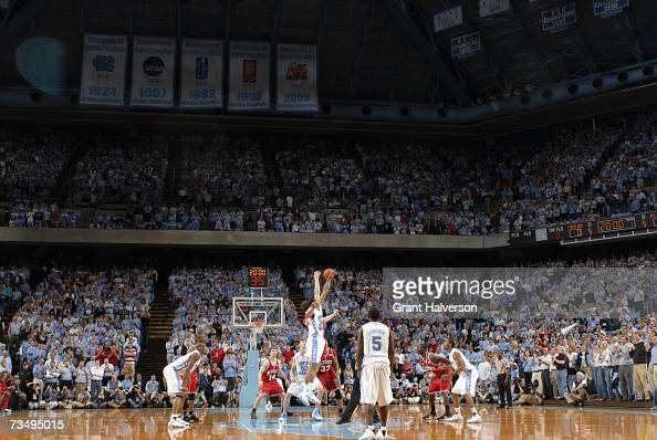 A general view of the tip off during the game between the North Carolina State Wolfpack and the North Carolina Tar Heels on February 21 2007 at the...