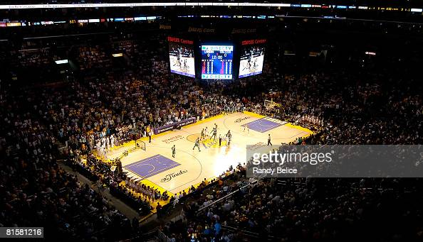 A general view of the tip off for Game Five of the 2008 NBA Finals between the Boston Celtics and the Los Angeles Lakers on June 15 2008 at Staples...