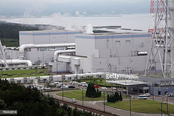 A general view of the Tokyo Electric Power Co KashiwazakiKariwa Nuclear Power Plant following yesterday's magnitude 68 earthquake on July 17 2007 in...