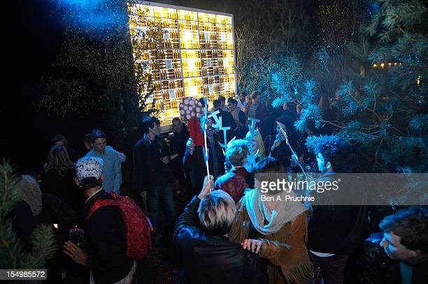 A general view of the Topman Launch of an exclusive James Long Knitwear collaboration held at the Rekorderlig Winter Forest to celebrate the...