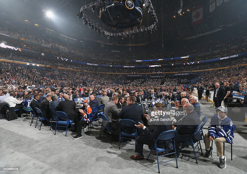 A general view of the Toronto Maple Leafs draft table is seen during round one of the 2016 NHL Draft at First Niagara Center on June 24, 2016 in Buffalo, New York.
