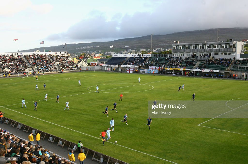 A general view of the Torsvollur Stadium during the UEFA Cup 1st Round 1st Leg Qualifying match between EB/Streymur and Manchester City at the...