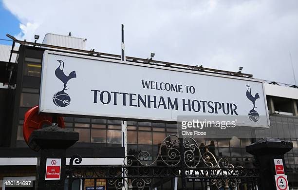 A general view of the Tottenham Hotspur welcome sign prior to the Barclays Premier League match between Tottenham Hotspur and Southampton at White...