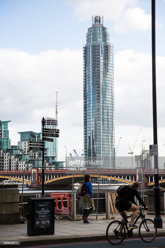 A general view of The Tower, St George Wharf in Vauxhall on May 24, 2016 in London, England. Around two-thirds of the luxury flats in the St George Wharf Tower, which was completed in 2014 and is 50 storeys high, are thought to be in foreign ownership with many left vacant.