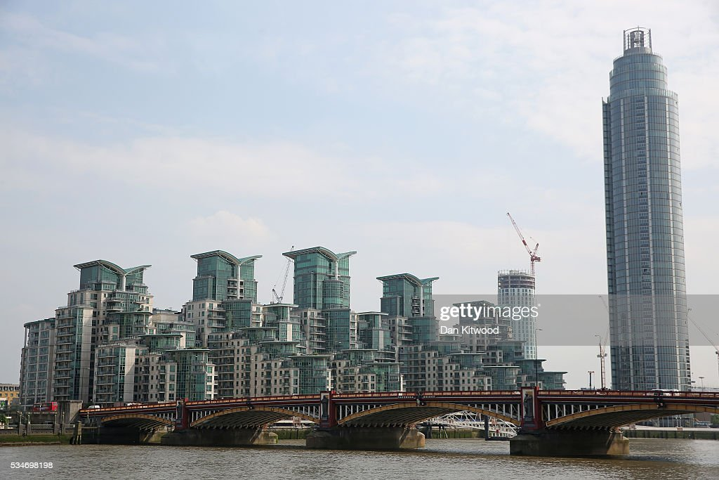 A general view of The Tower, St George Wharf (at right) in Vauxhall on May 27, 2016 in London, England. Around two-thirds of the luxury flats in the St George Wharf Tower, which was completed in 2014 and is 50 storeys high, are thought to be in foreign ownership with many left vacant.