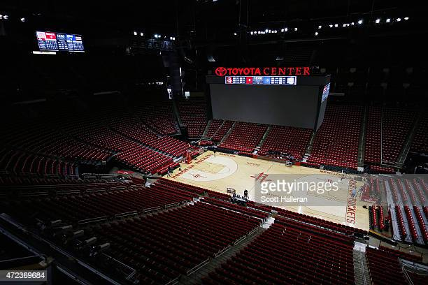 A general view of the Toyota Center prior to the start of the game between the Los Angeles Clippers and the Houston Rockets during Game Two in the...