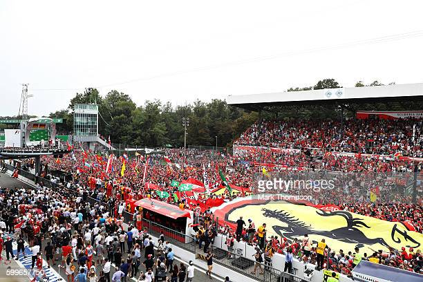 A general view of the track and podium during the Formula One Grand Prix of Italy at Autodromo di Monza on September 4 2016 in Monza Italy