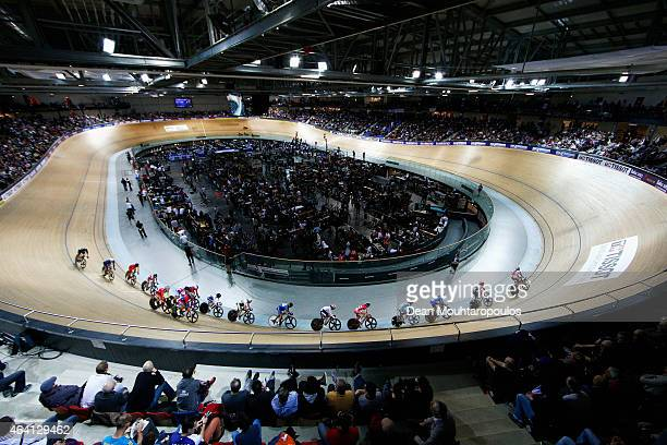 A general view of the track and stadium as riders including Laura Trott of the Great Britain Cycling Team Annette Edmondson of Australia and Kirsten...