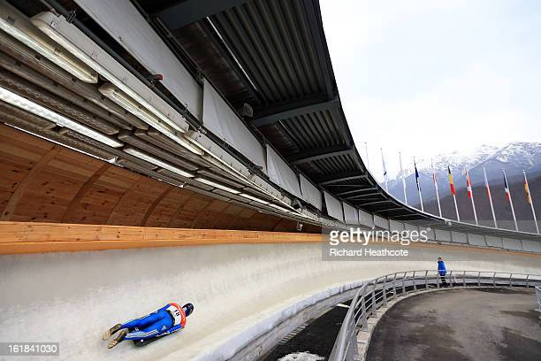 A general view of the track as a Skeleton rider goes down during the Viessman FIBT Bob Skeleton World Cup at the Sanki Sliding Center in Krasnya...