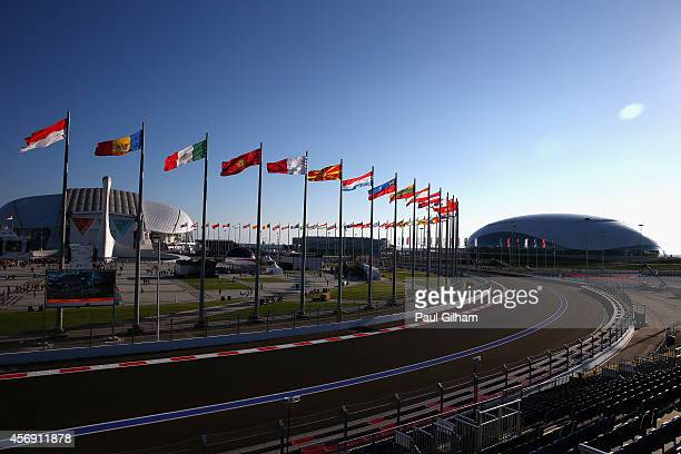 A general view of the track backdropped by the Bolshoi Ice Dome Olympic Cauldron and Fisht Olympic Stadium during previews ahead of the Russian...