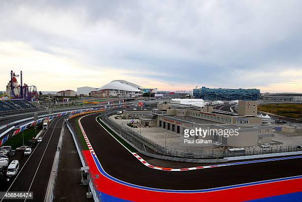 A general view of the track backdropped by the Iceberg Skating Palace and Fisht Olympic Stadium during previews ahead of the Russian Formula One...