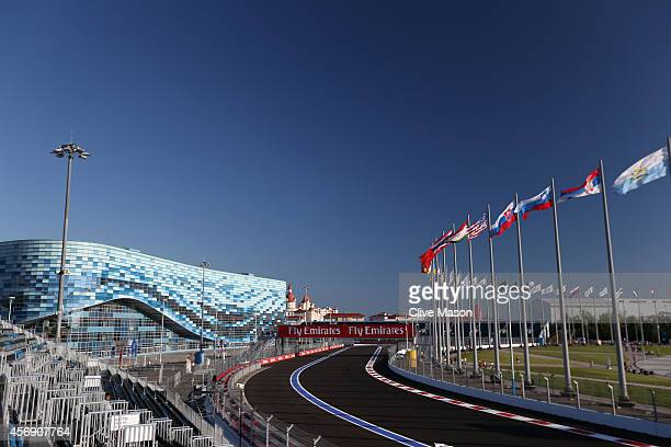 A general view of the track backdropped by the Iceberg Skating Palace during previews ahead of the Russian Formula One Grand Prix at Sochi Autodrom...