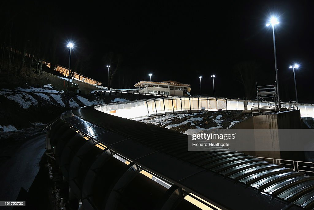 A general view of the track during the Women's Viessman FIBT Bob & Skeleton World Cup at the Sanki Sliding Center in Krasnya Polyana on February 15, 2013 in Sochi, Russia. Sochi is preparing for the 2014 Winter Olympics with test events across the venues.