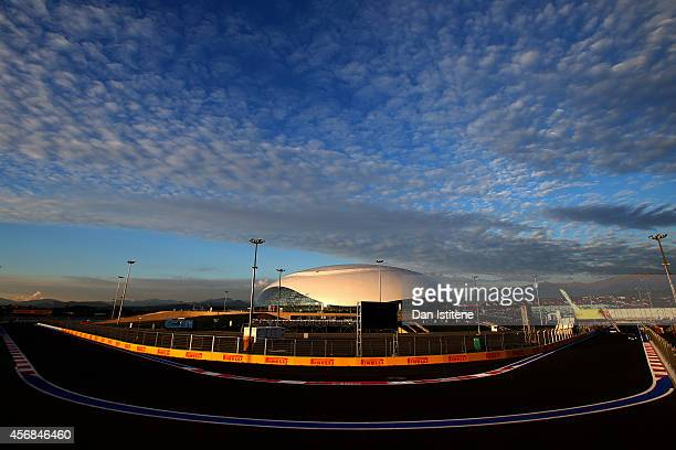 A general view of the track next to the Bolshoi Ice Dome during previews ahead of the Russian Formula One Grand Prix at Sochi Autodrom on October 8...