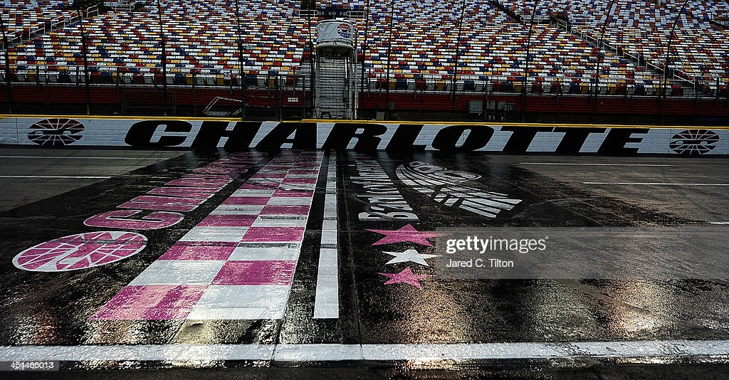A general view of the track prior to testing at Charlotte Motor Speedway on December 9, 2013 in Charlotte, North Carolina. Testing was eventually canceled for the day and has been postponed until Wednesday.