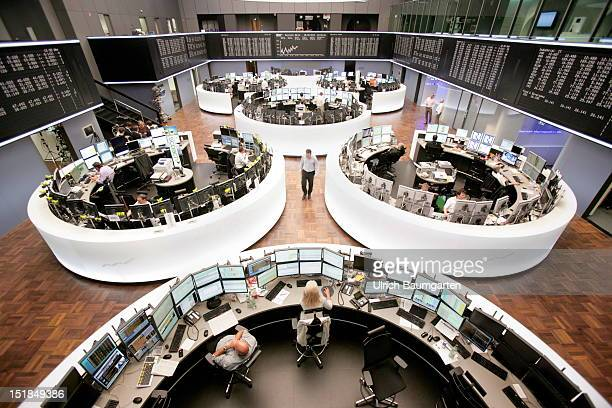 A general view of the trading hall of the Deutsche Boerse Group the German Stock Exchange on August 28 2012 inFrankfurt am Main Germany