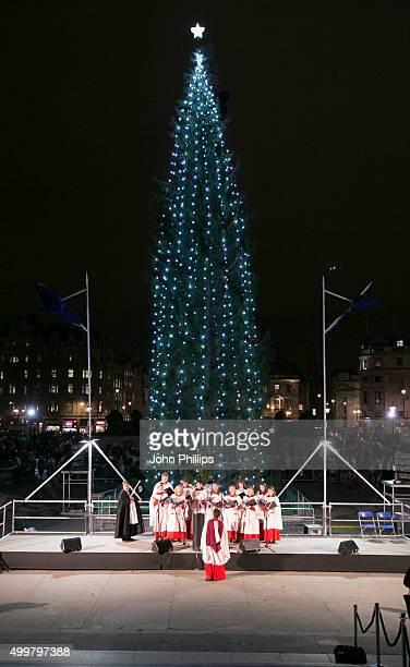 A general view of the Trafalgar Square Christmas Tree at Trafalgar Square on December 3 2015 in London England