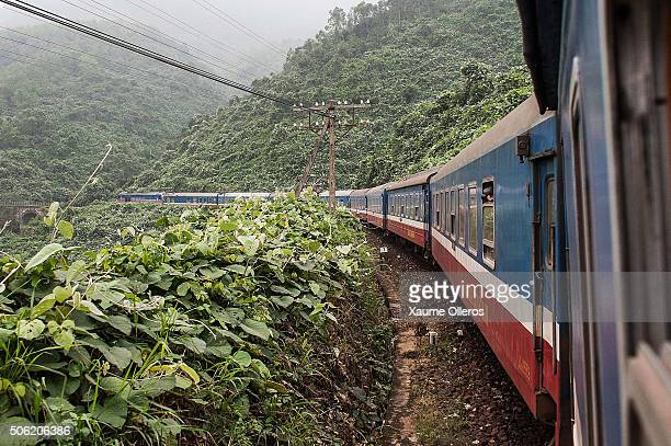 General view of the train journey between Halong Bay and Hanoi on December 30 2013 in Halong Bay Vietnam