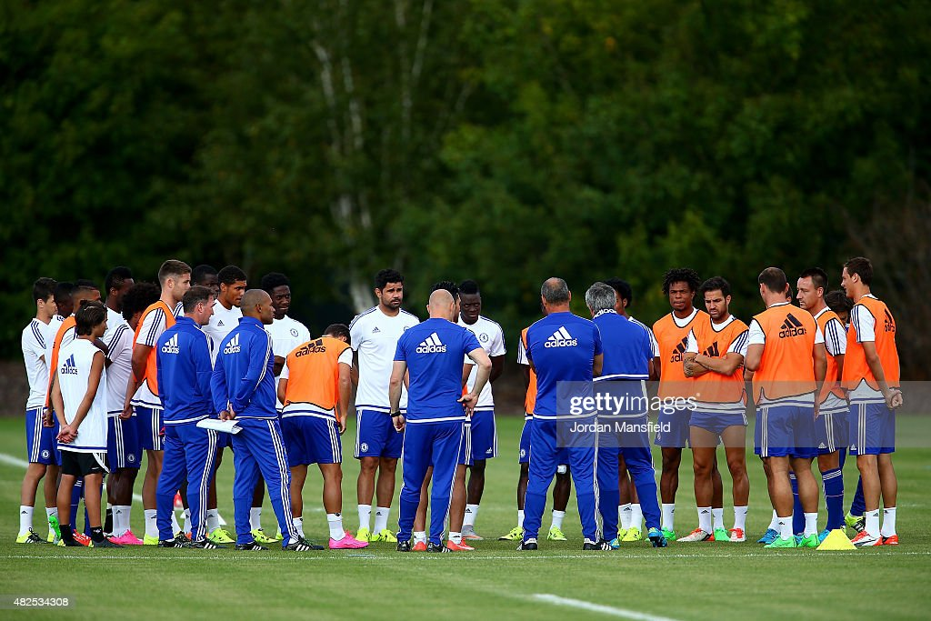 A general view of the training session at Chelsea Training Ground on July 31 2015 in Cobham England