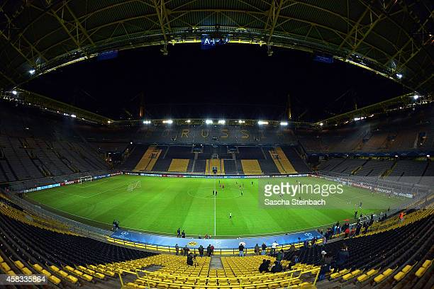 A general view of the training session of Galatasaray Istanbul prior to their Champions League match against Borussia Dortmund at Signal Iduna Park...