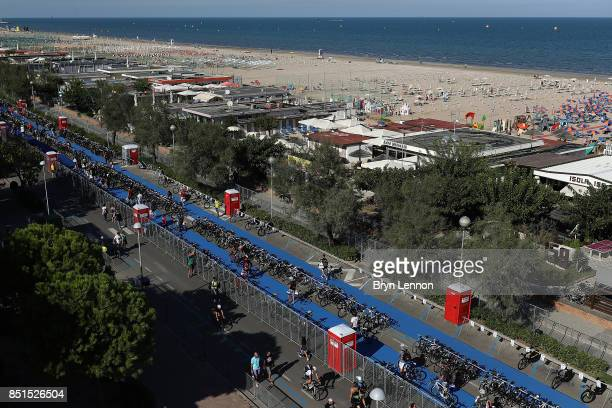 A general view of the transition area for IRONMAN Italy Emilia Romagna on September 22 2017 in Cervia Italy