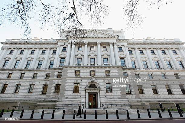 A general view of the Treasury building on March 23 2011 in London England The Chancellor is expected to implement further measures to tackle the...