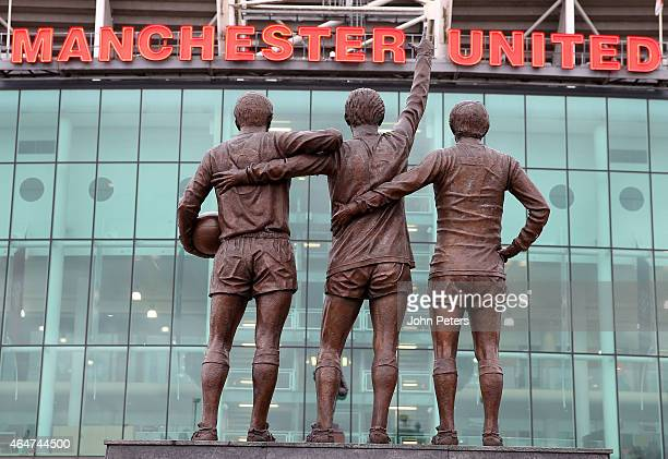 A general view of the Trinity Statue at Old Trafford ahead of the Barclays Premier League match between Manchester United and Sunderland at Old...