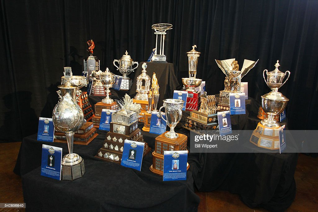 A general view of the trophies display is seen prior to the 2016 NHL Draft at First Niagara Center on June 24, 2016 in Buffalo, New York.