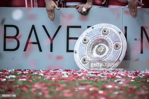 A general view of the trophy after the Bundesliga match between Bayern Muenchen and SC Freiburg at Allianz Arena on May 20 2017 in Munich Germany