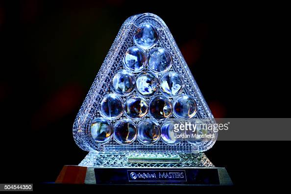 A general view of the trophy ahead of the start of Day Two of the Dafabet Masters at Alexandra Palace on January 11 2016 in London England