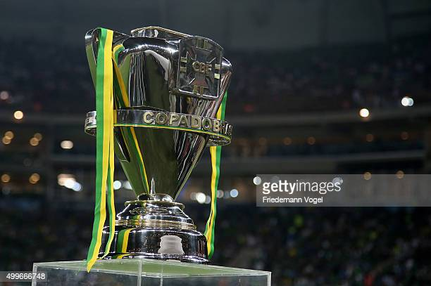 A general view of the trophy during the match between Palmeiras and Santos for the Copa do Brasil 2015 Final at Allianz Parque on December 2 2015 in...