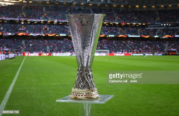 General view of the trophy during the UEFA Europa League Final match between Ajax and Manchester United at Friends Arena on May 24 2017 in Stockholm...