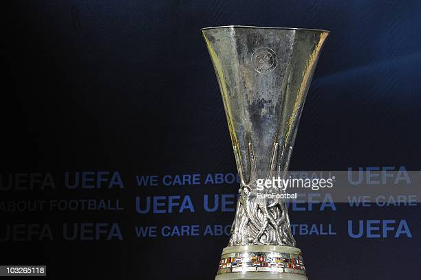 A general view of the trophy during the UEFA Europa League playoff draw on August 6 2010 in Nyon Switzerland