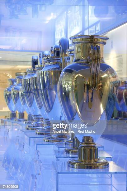 A general view of the trophy exhibition hall at Real Madrid's Santiago Bernabeu stadium on April 5 2006 in Madrid Spain