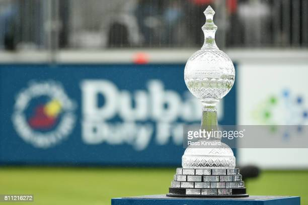 General View of the trophy on the 1st tee during the final round of the Dubai Duty Free Irish Open at Portstewart Golf Club on July 9 2017 in...