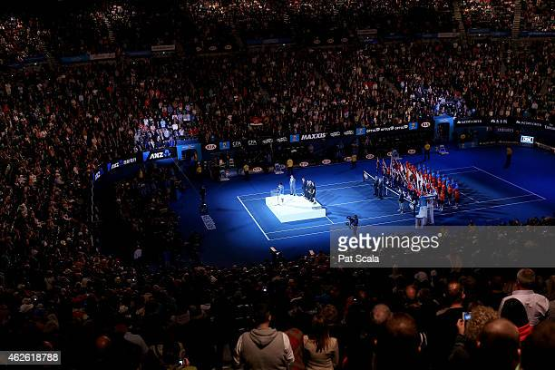 A general view of the trophy presentation at Rod Laver Arena during day 14 of the 2015 Australian Open at Melbourne Park on February 1 2015 in...