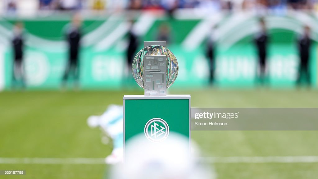 A general view of the trophy prior to the A Juniors German Championship Final match between 1899 Hoffenheim U19 and Borussia Dortmund U19 at Wirsol Rhein-Neckar-Arena on May 29, 2016 in Sinsheim, Germany.