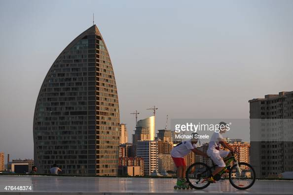 A general view of the Trump Tower and downtown ahead of Baku 2015 the first European Games on June 9 2015 in Baku Azerbaijan