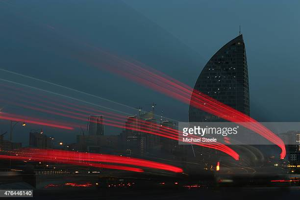 A general view of the Trump Tower at dusk ahead of Baku 2015 the first European Games on June 9 2015 in Baku Azerbaijan