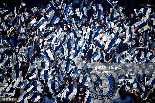 General view of the ttifo from the fans of FC Copenhagen prior to the Danish Alka Superliga match between Brondby IF and FC Copenhagen at Brondby...