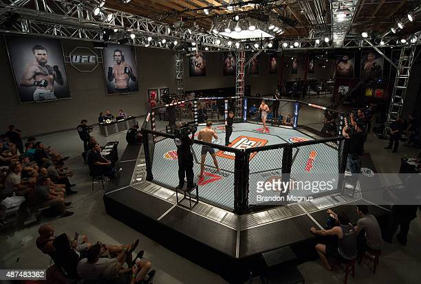 A general view of the TUF gym as Martin Svensson and Mohamed Grabinski begin their fight during the elimination fights at the UFC TUF Gym on July 17...