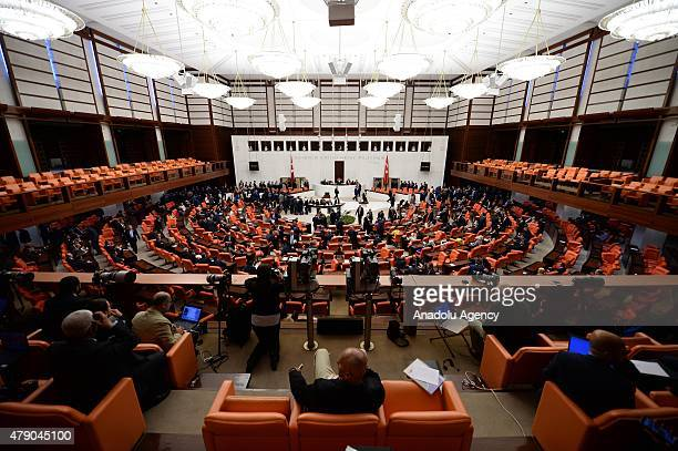 General view of the Turkish Grand National Assembly is seen during the election of the Parliament speaker at TBMM in Ankara Turkey on June 30 2015