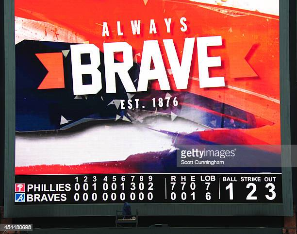 A general view of the Turner Field scoreboard after the Philadelphia Phillies complete a four pitcher nohitter against the Atlanta Braves on...